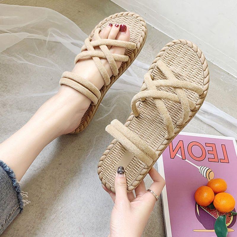 凉鞋女夏2019新款韩版学生平底凉拖鞋两穿网红罗马凉鞋厚底沙滩鞋