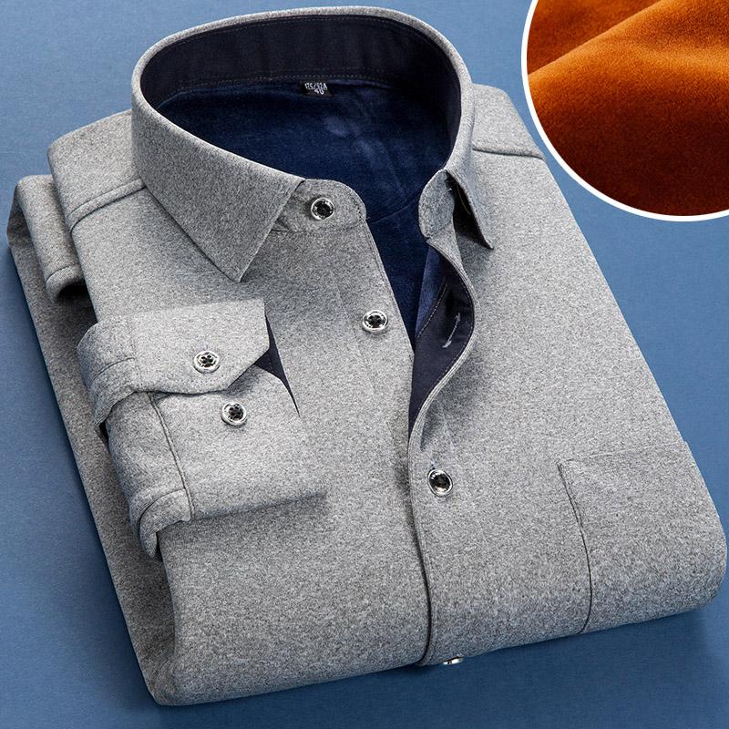 秋冬季加厚加绒保暖衬衫男士纯色衬衫男长袖修身韩版衬衣男衫寸潮图片