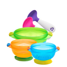Munchkin baby Bowl Spoon Set Baby suction cup auxiliary food bowl warm Spoon Baby tableware