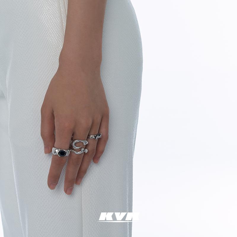 小众设计简约冷淡风毒蚀组合戒指套戒简约百搭戒指纯银戒指女KVK