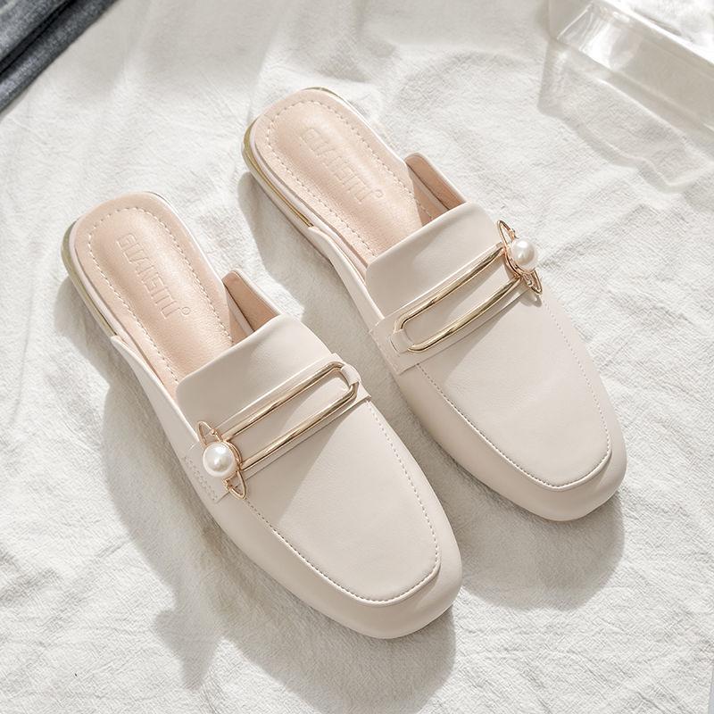 真软皮包头半拖鞋女网红百搭半托单鞋女时尚外穿懒人穆勒鞋