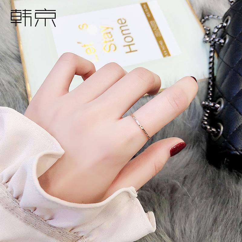 韩京极细女韩版个性钛钢尾戒指环10-19新券