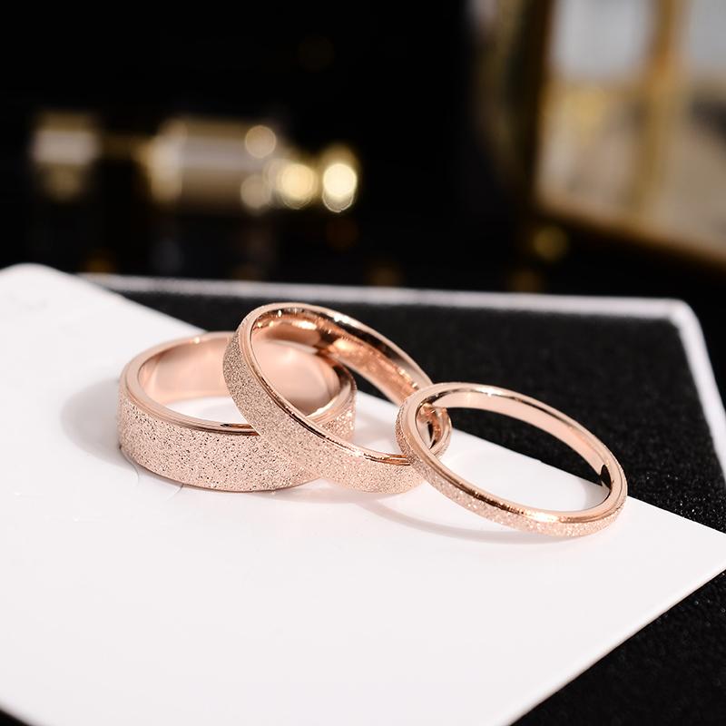 韩京韩版钛钢镀玫瑰金磨砂情侣戒指男女对戒食指环小指尾戒不褪色