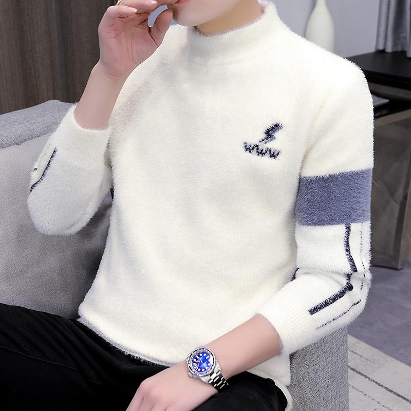 Half turtleneck mink velvet sweater men's autumn and winter plus velvet thickening bottoming shirt trend line clothing warm winter jacket