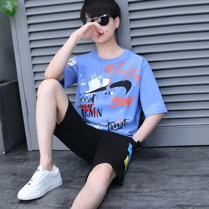 13青少年运动套装男孩夏季12-15岁初中学生短袖t恤14帅气大童夏装