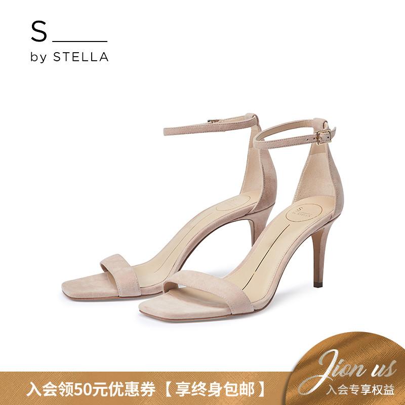 小S女鞋S by STELLA2019夏季新品肉桂粉细一字带细跟高跟露趾凉鞋