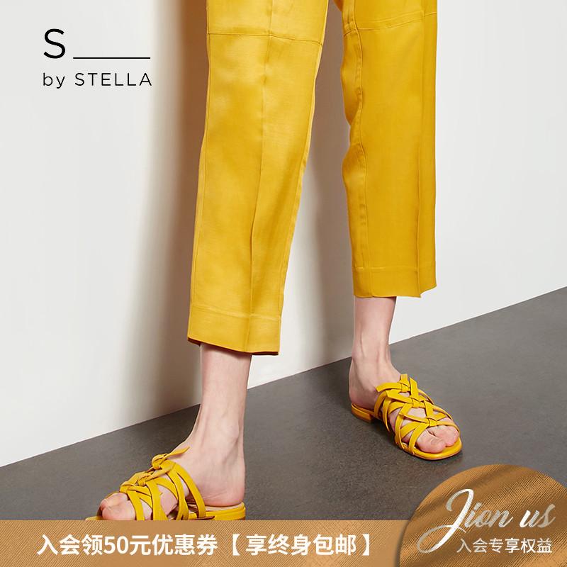 小S女鞋S by STELLA2019夏季新品黄色小巧蝴蝶结平底平跟凉拖鞋
