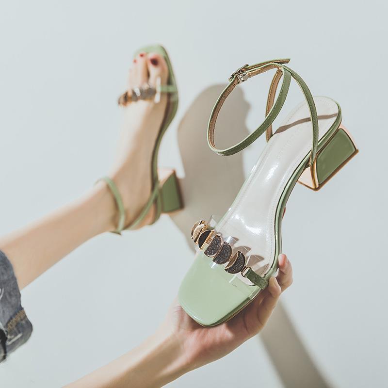 凉鞋女2020新款夏季一字带高跟鞋中跟网红百搭罗马粗跟仙女风ins