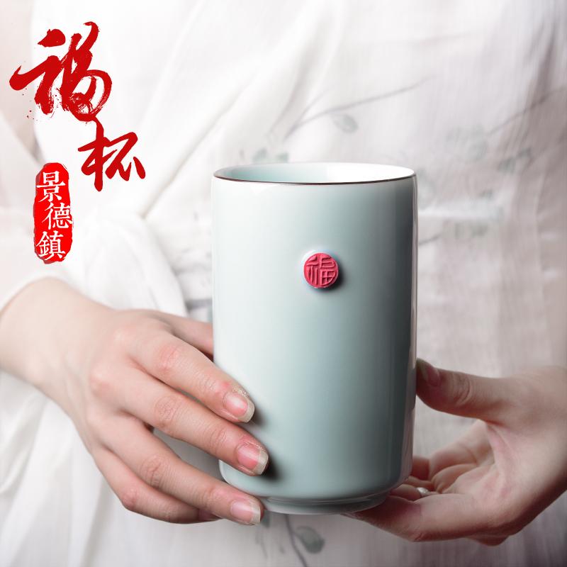 陶溪川景德镇马克杯简约纯色文艺创意咖啡杯子陶瓷水杯直筒办公杯