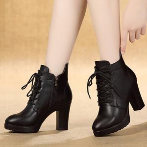 真皮马丁靴女2021新款粗跟百搭靴子秋冬季高跟单鞋英伦风短靴女鞋