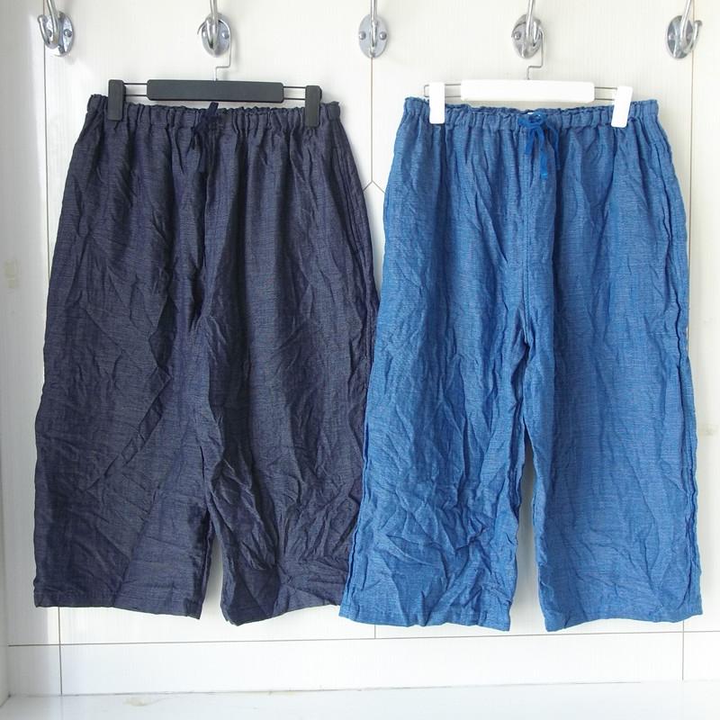 内野UCHINO三层纱纯棉光泽感柔软亲肤吸湿透气环保短裤中裤七分裤