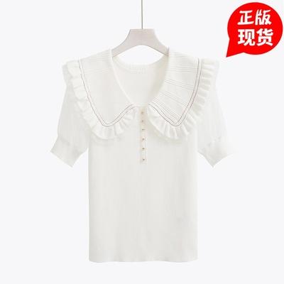 娃娃领白色针织衫女2020新款夏季修身泡泡袖甜美可爱短款网纱上衣