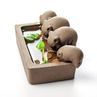 小猪喝水精品紫砂可养茶玩喷水变色茶宠茶盘茶台摆件茶艺茶具配件