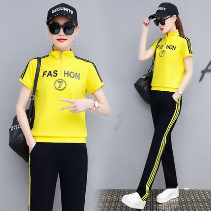 运动服套装女两件套夏2019新款洋气韩版修身显瘦休闲时尚流行女装