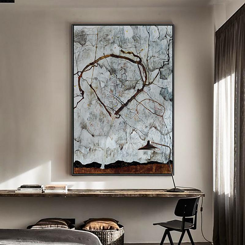 路畔玄关装饰画入户墙画席勒秋树油画发财鹿挂画幸福树风水画壁画图片