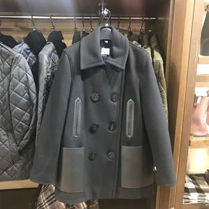 冬季毛呢女大衣 羔羊皮口袋羊毛混纺流行海军外套80188051