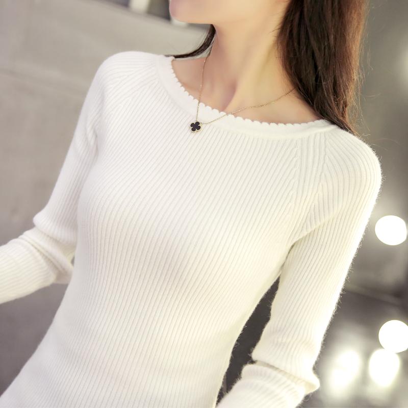 白色打底衫女长袖短款修身一字领针织衫纯色套头毛衣紧身早春上衣