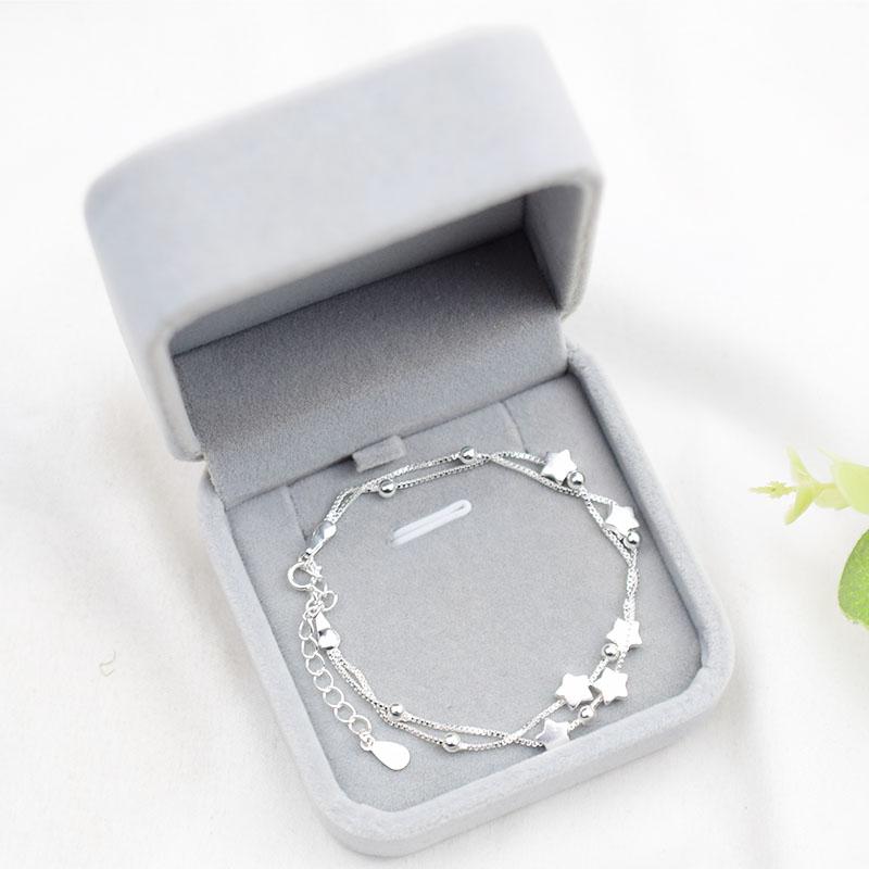 s925纯银双层星星手链女潮日韩简约气质超仙森系学生甜美生日礼物
