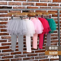 女童裙裤假两件网纱蓬蓬裙2020新款洋气一体绒加绒加厚纯棉打底裤