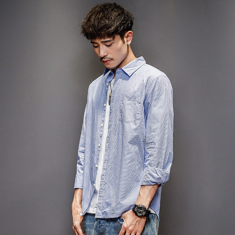 Gizo / Jizhi autumn new simple casual Plaid Shirt Mens Japanese Long Sleeve Shirt