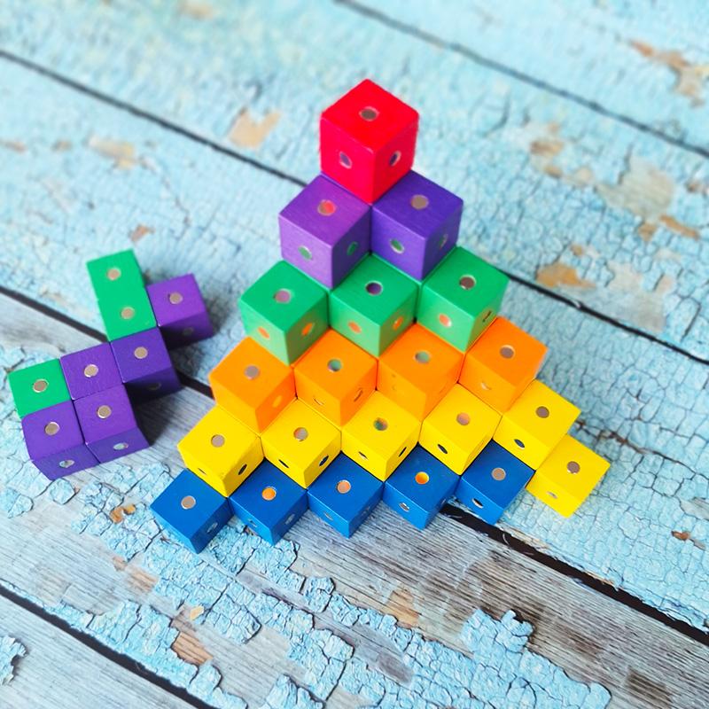 磁性彩色正方体积木六面磁铁磁力小方块数学可拆卸立方体几何教具