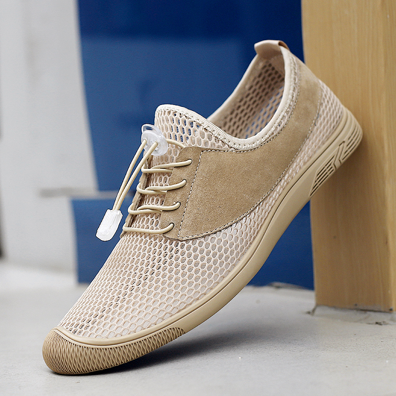 Mens mesh shoes leisure sports shoes low top hollow breathable mesh cloth large outdoor leisure shoes in spring and summer