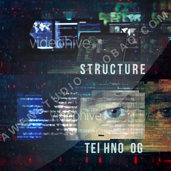 ハイテクデジタルグリッド暗黒系探侦剧集映画ゲームオープニングアニメーション展示AEテンプレート
