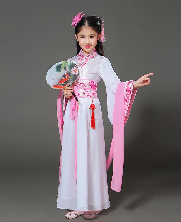 汉服儿童小孩古装仙女广袖流仙裙中国风古代公主轻纱古装古筝礼服