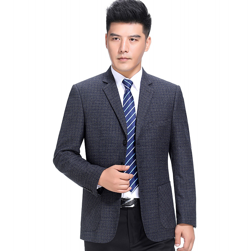 Mens new mid aged wool single Western coat business casual Plaid suit top