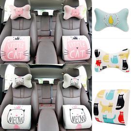 卡通可爱创意猫四季棉麻汽车头枕一对记忆棉护颈枕靠枕颈枕腰靠图片
