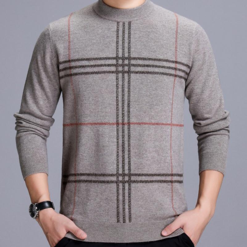 2019新款圆领男士长袖毛衣冬季厚爸爸装保暖大码内搭男式羊绒毛衫