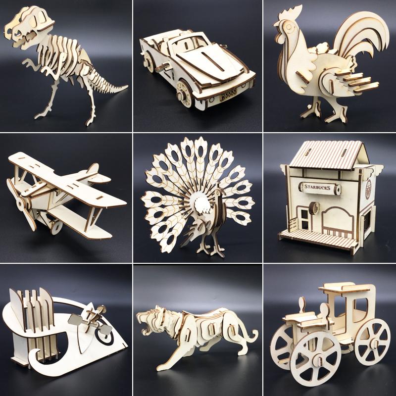 3d立體拼圖木質拼裝模型激光切割模擬創意diy手工製作益智玩具
