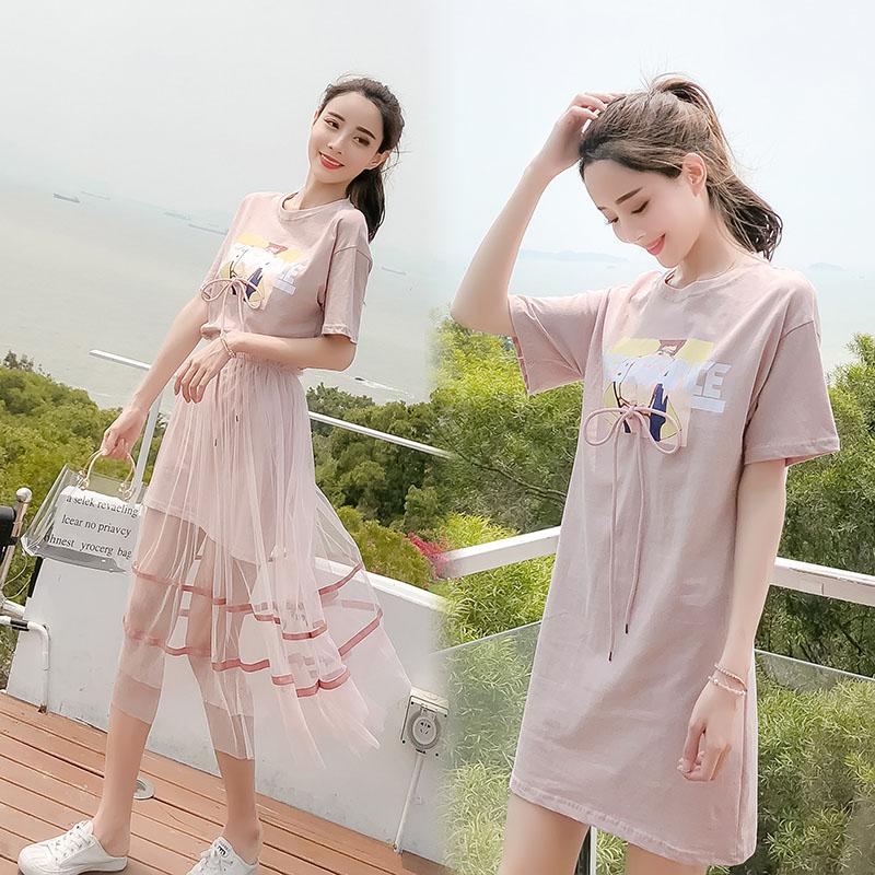 夏季网纱印花T恤裙女连衣裙两件套套装裙