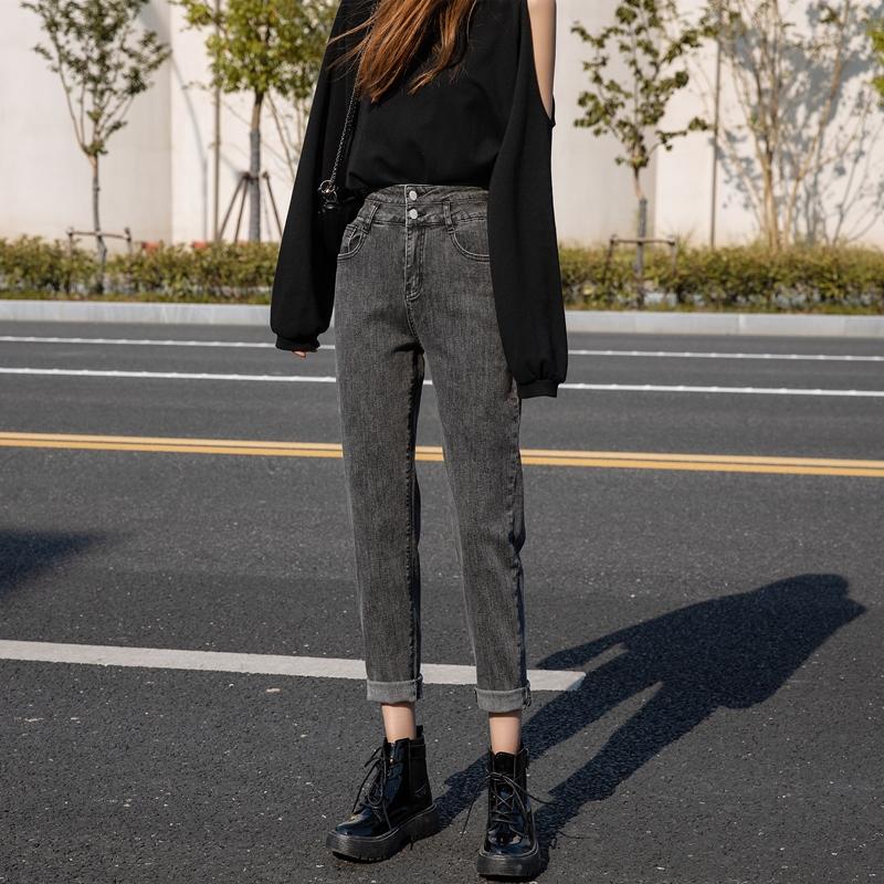 老爹加绒牛仔裤女秋冬2020年新款外穿高腰显瘦宽松大码胖mm萝卜裤