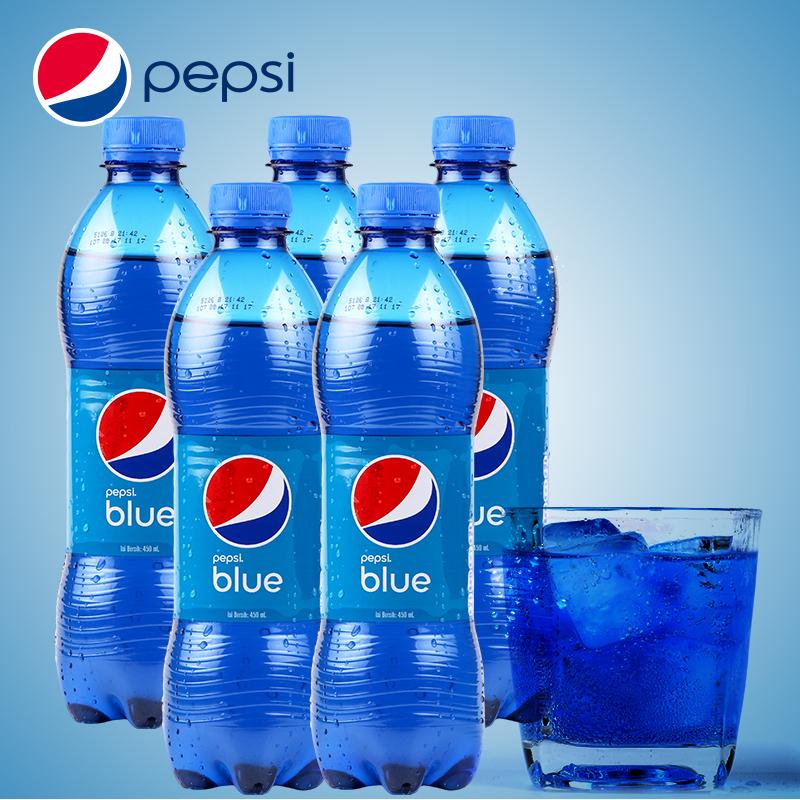 印尼进口百事蓝色可乐饮料梅子味450m*5罐装巴厘岛网红蓝色可乐