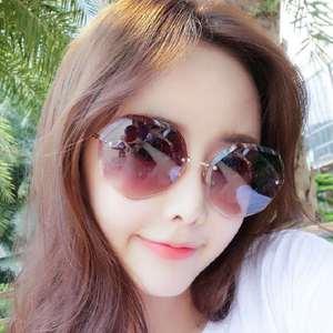 无框切边多边形太阳镜网红街拍韩版潮眼镜墨镜女金属潮流眼镜