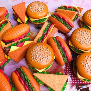 里昂手作仿真大號漢堡熱狗三明治 手機殼奶油膠diy材料鑰匙扣配件