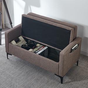 北欧布艺简易双三人小户型收纳储物租房用沙发椅店铺客厅沙发凳子