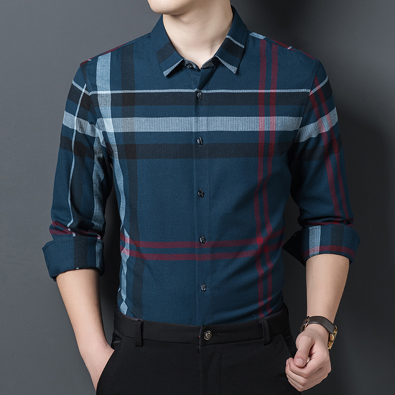 Mens classic style shirt in spring and autumn 2020 middle aged casual slim Long Sleeve Striped Shirt