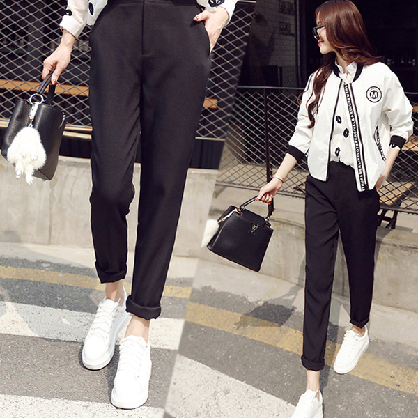 Suit pants womens spring and autumn new loose and versatile fall feeling straight pants high waist black pipe work clothes casual pants