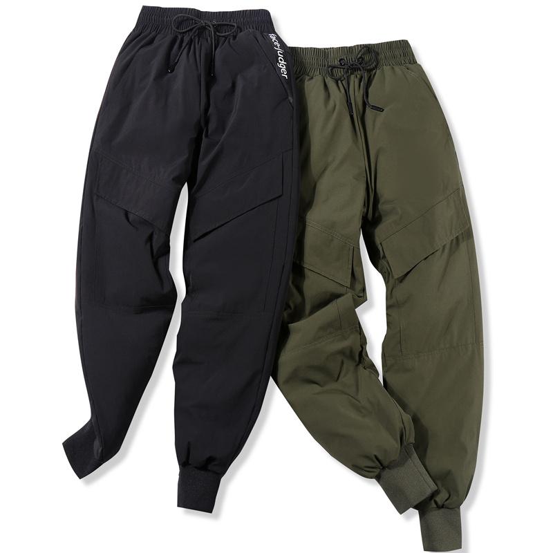 羽绒裤男外穿高腰户外运动工装裤加肥加厚冬季男士大码棉裤鸭绒裤