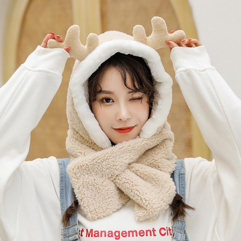 毛绒帽子女秋冬季网红款甜美可爱韩版潮百搭冬天护耳保暖围巾一体