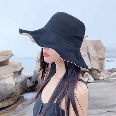 夏天渔夫帽女日系百搭网红款防晒紫外线遮阳帽时尚韩版潮太阳帽子