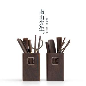南山先生 苏窗茶道六君子套装黑檀6件套茶针茶夹功夫茶具配件家用