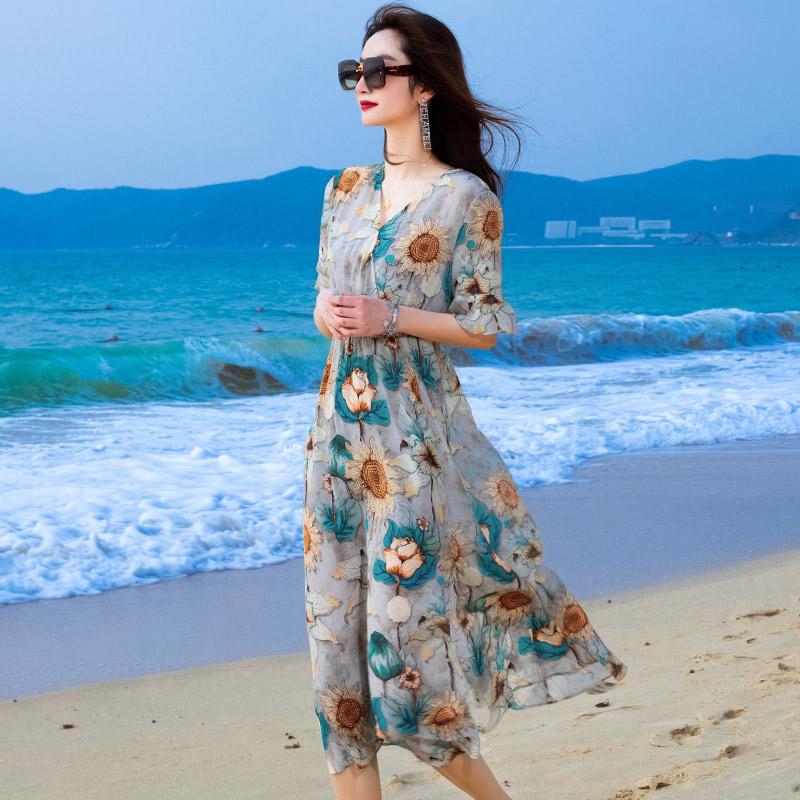 2020夏季新款中长款印花真丝连衣裙女桑蚕丝喇叭袖大摆型中长裙