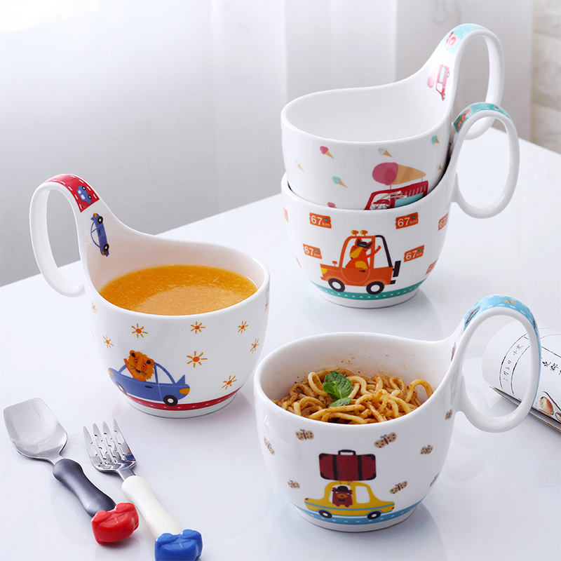 Childrens tableware set dinner plate cartoon ceramic rice bowl soup cup breakfast cup creative babys rice bowl with handle bowl