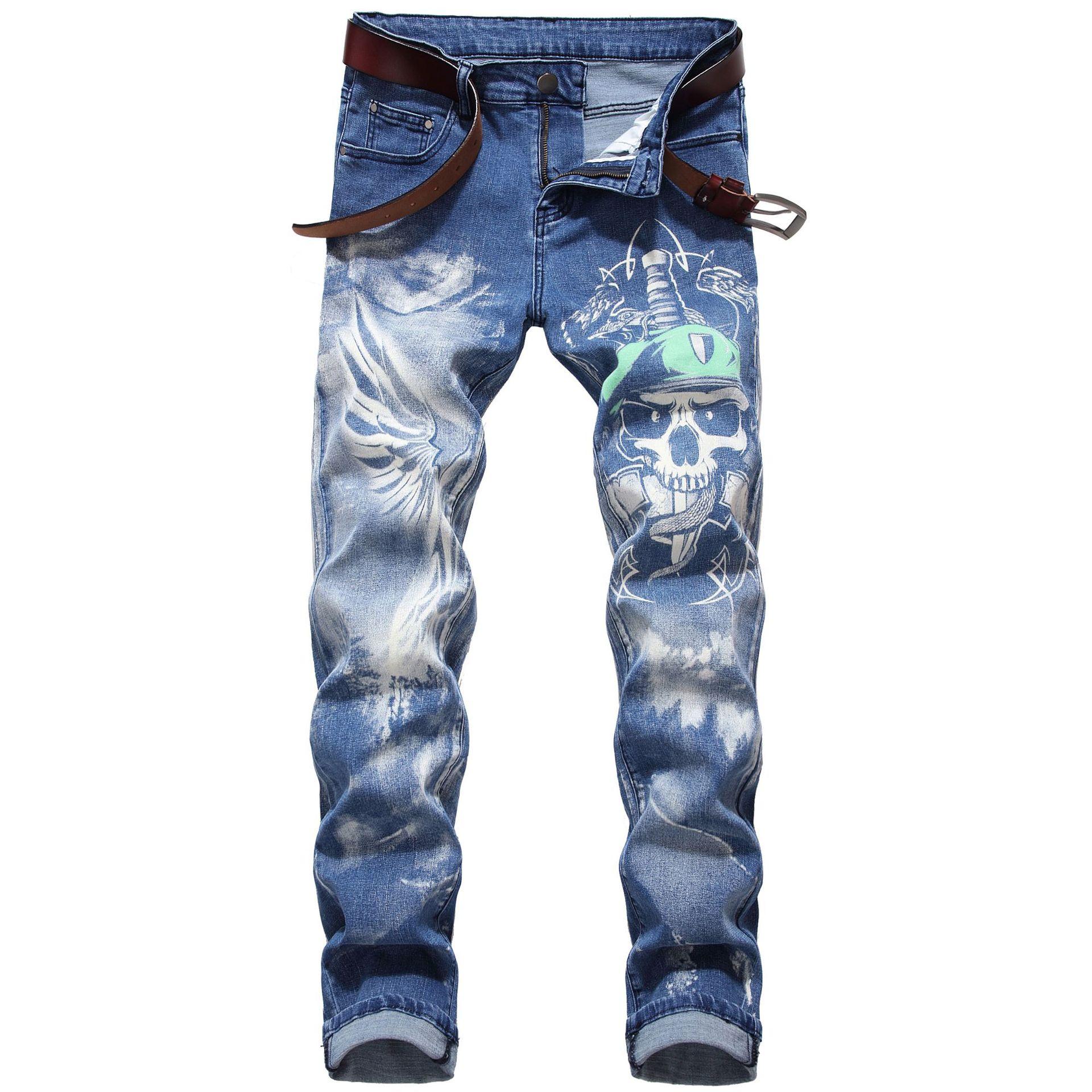 男士修身印花牛仔裤长裤Men's slim-fit print jeans2021新款