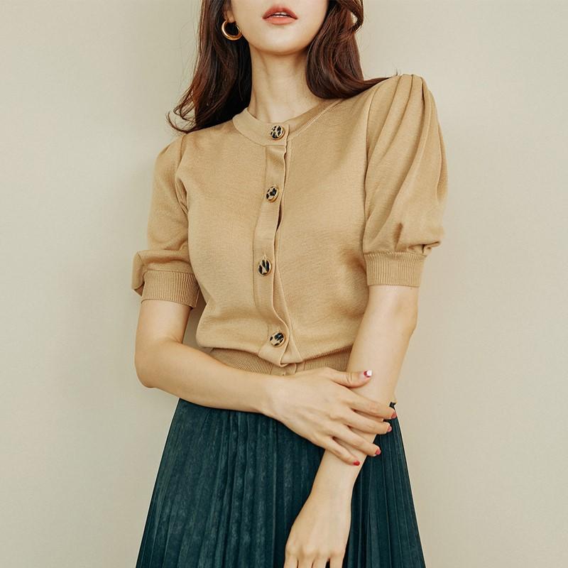 冰丝针织衫女开衫春装2021年新款女装薄款泡泡袖短款早春内搭上衣