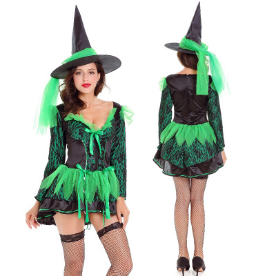New Halloween Costume role play sexy deep V-neck Green Witch Costume Party stage performance costume girl