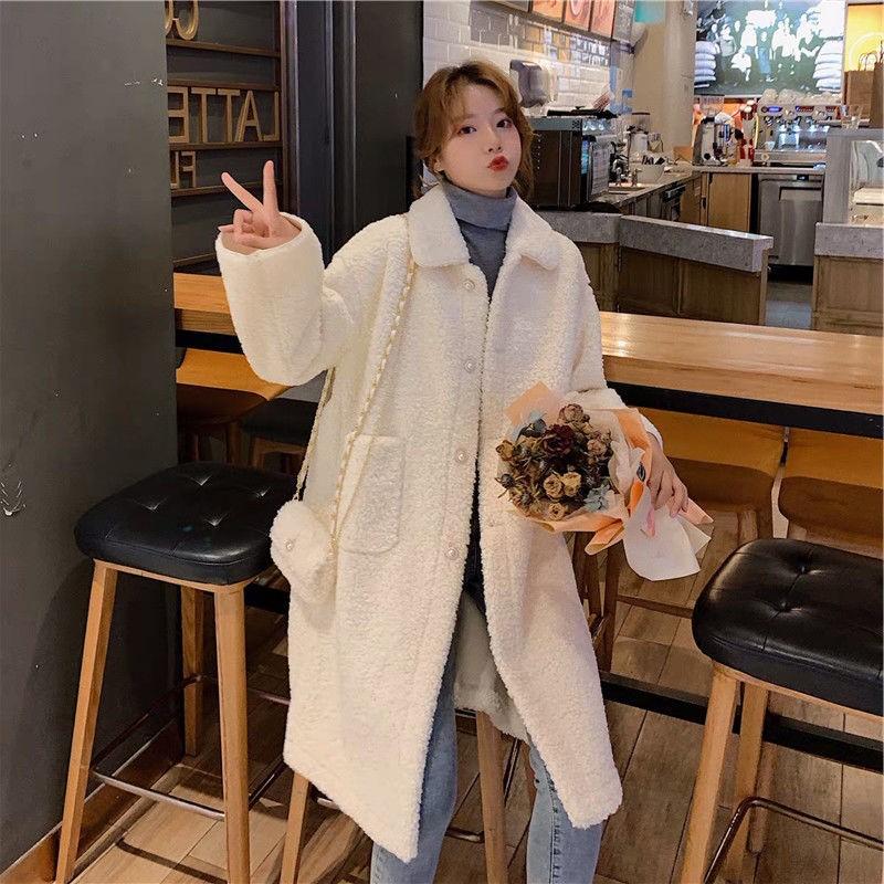 冬装韩版宽松仿羊羔毛绒加厚保暖中长款大衣外套女2019新款百搭潮